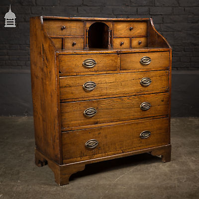Early 19th C Oak Bureau with Drawers and Acorn Detail Pulls