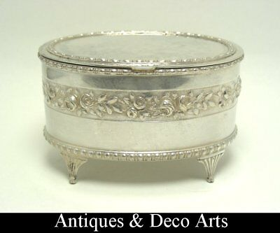 Antique Silver-plated Box with Embossed Rose Decoration and Gilt Interior
