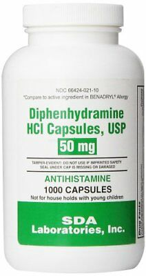 Diphenhydramine HCI Capsules USP 50 mg for Effective Allergy Relief - 1000 Caps