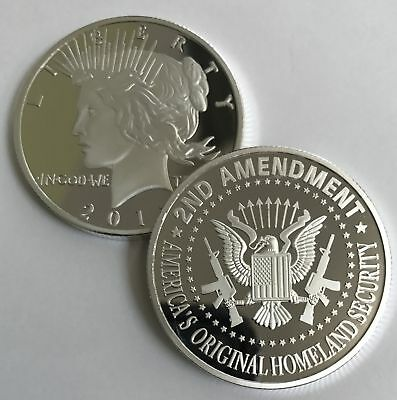 2nd Amendment SILVER Liberty round. Special One-of-a-kind coin for the Right...