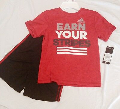 Red/Black Boys ADIDAS Athletic 2pc short set size 6 Earn Your Stripes $48 retail