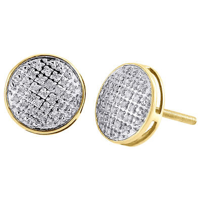 Diamond Round Stud Earrings .925 Sterling Silver Pave Circle Design 0.25 Ct.