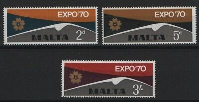 Malta SG 438-440  1970  World Fair, Osaka  Unmounted Mint MNH