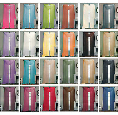 """Solid Sheer Window 1 Piece Panel / Curtain Voile Many Colors Rod Pocket 84"""""""