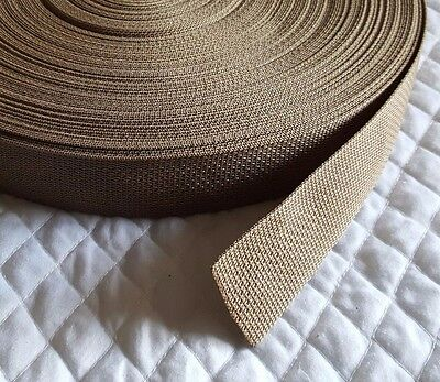 "Polypro Lightweight Webbing Tan Gold 5 yards x 1.5"" strapping trim crafts"