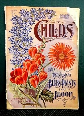 1902 FALL antique CHILDS BULBS,PLANTS BLOOM CATALOG complete FLORAL PARK NY