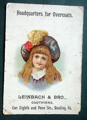 1880s antique LEINBACH & BRO.CLOTHIERS reading pa OVERCOATS victorian trade card