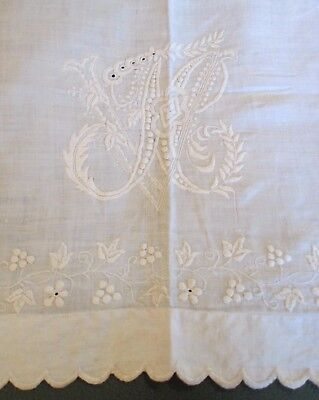 Antique Embroidered Linen Lay Over Sham Ornate N V Monogram Grapes, Flowers