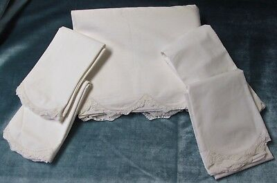 Antique Linen Sheet & 4 Pillow Case Set Crocheted Edging Never Used