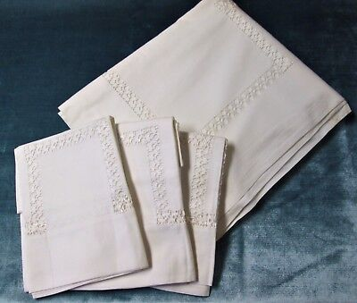 Antique Sheet & 3 Pillow Case Set Ornate Drawnwork Snowy White Linen Unused
