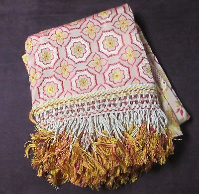 Antique ITALIAN Damask Bedspread Red & Yellow Florals & Medallions Ornate Fringe