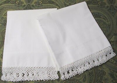 Antique Pillow Case Pair Beautiful Tatted Trim Never Used