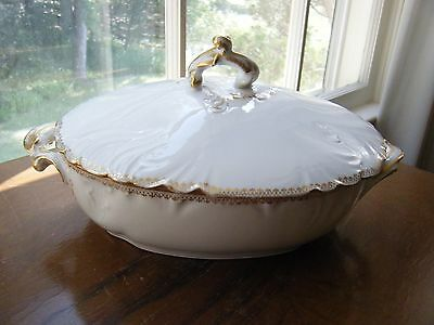 Limoges antique white with gold tureen France