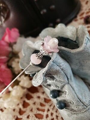Hat Pin Victorian Vintage Inspired Pink & Pearl Bead Antique Silver Strong Sharp