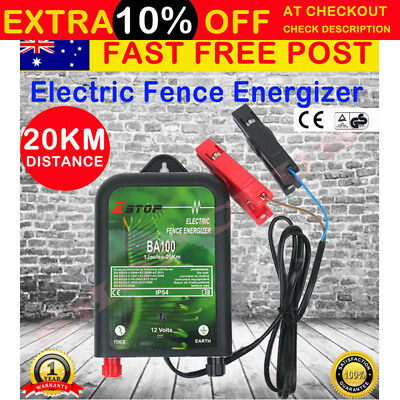 20km 12V Range Power Electric Fence Energiser Charger Poly Wire Tape Posts 1J