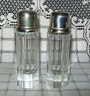 VINTAGE 8-SIDED GLASS SALT & PEPPER SHAKERS silver-tone lids 12.5cm