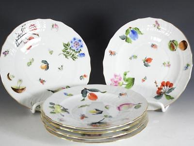 "(6) HEREND ""FRUITS NECKER"" 6 7/8"" Bread & Butter (or salad?) Plates"
