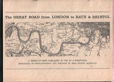 A 1792 MAP of the GREAT ROAD from LONDON to BATH and BRISTOL. English History!