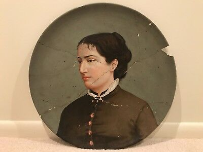 Antique Portrait Oil Painting 19th Century Woman Lady on Ceramic Plate A