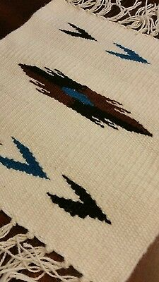 Chimayo 100 % Wool Textile 10 X 10 Cream Weaving Made in Northern New Mexico