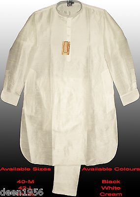 Dupion Silk Kurta Pajama Party Occasional Meditation Casual White Black Cream