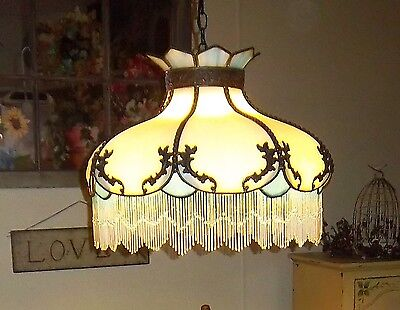 Tiffany Style Stained Glass Hanging Lamp w Beads  Antique Blue & White Victorian