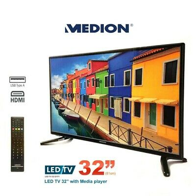 "Refurbished MEDION 80cm 32"" HD LED LCD TV 16:9 HDMI USB VGA Antenna with Remote"