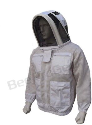 Bee 3 Layer beekeeping jacket hat ventilated protective fency veil hood@XL-01