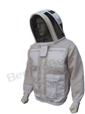 Bee 3 Layer beekeeping jacket hat ventilated protective fency veil hood@L-01