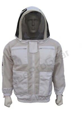 Bee 3 Layer beekeeping jacket hat ventilated protective fency veil hood@M-01