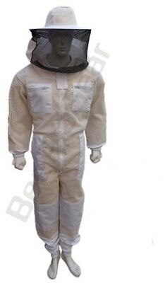 Bee Beekeeping jacket 3 Layer protective full suit ventilated Round Veil@3XL