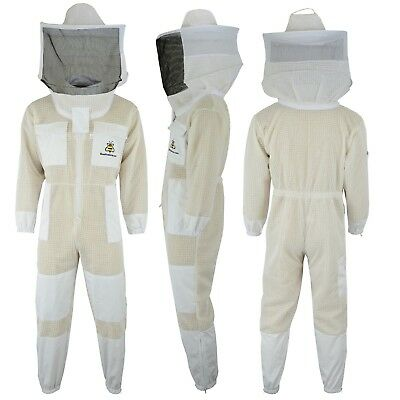 Bee Beekeeping jacket 3 Layer protective full suit ventilated Round Veil@XL