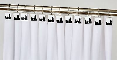 12 Pack Of Black And White City Scape Hand Crafted Shower Curtain Hooks