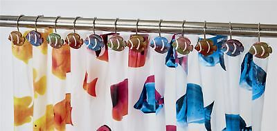 12 Pack Of Multi Colour Fish Hand Crafted Shower Curtain Hooks