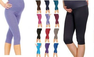 Womens Ladies Maternity Leggings Cropped 3/4 Length Very Comfortable Size 8 - 26