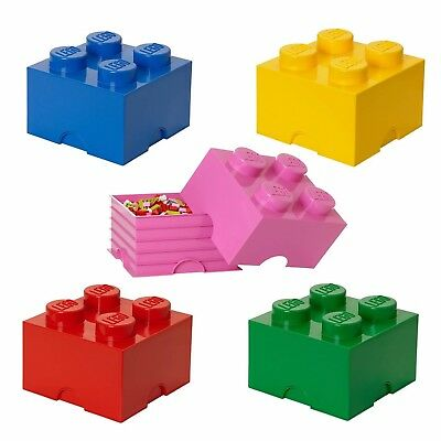 Lego Storage Brick Box 4 Knob In 5 Colours Red Yellow Green Pink Or Blue NEW