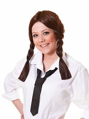 Ladies Brown Plaits Dorothy Wig Wizard Of Oz School Girl St Trinians Fancy Dress