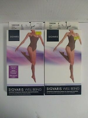 2 Pair Sigvaris Well Being Knee-High Sheer Fashion Hosiery Size C - Rc 6263