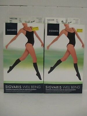 2 Pair Sigvaris Well Being Knee-High Cushioned Cotton Socks Size C Black Rc 6350