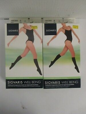2 Pair Sigvaris Well Being Knee-High Cushioned Cotton Socks Size B - Rc 6266