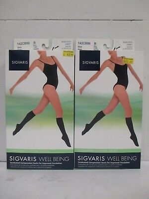 2 Pair Sigvaris Well Being Knee-High Cushioned Cotton Socks Size B Black Rc 6347