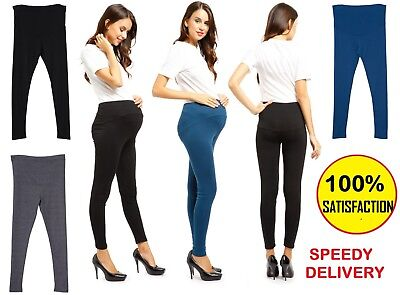 Womens Black Maternity Full Length Cotton Leggings Pregnancy V1*mtrlgfull