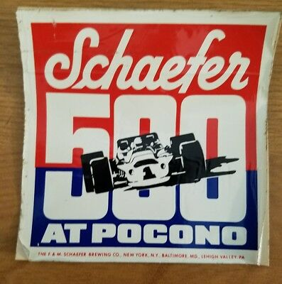Vintage 1970s pocono raceway schaefer 500 sticker decal indy car