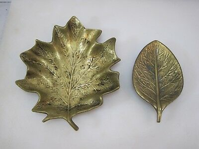 (2) Vintage Solid Brass Leaf Tray Dishes B8554