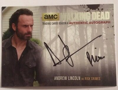 Andrew Lincoln Silver Authentic Autograph 2016 The Walking Dead Season 4 Part 2