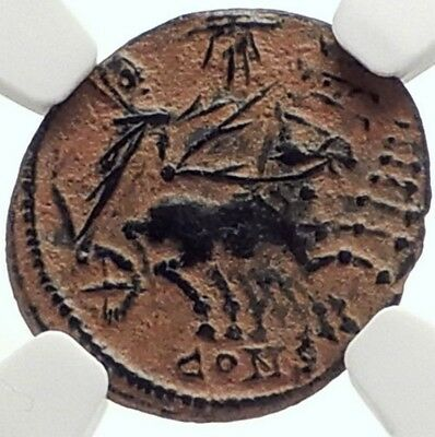 Saint CONSTANTINE I the Great CHARIOT to GOD HAND inHEAVEN Roman Coin NGC i69141