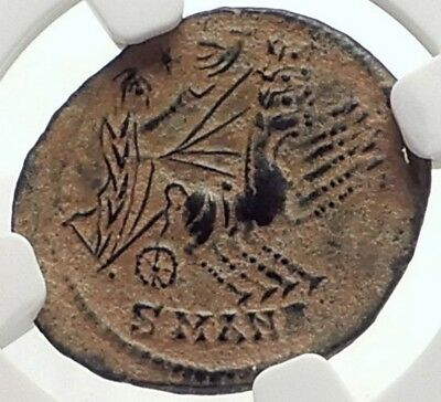 Saint CONSTANTINE I the Great CHARIOT to GOD HAND inHEAVEN Roman Coin NGC i69143