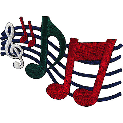 """Musical Notes Sheet Music Measure 2.5/"""" Embroidered Iron On Patch 51001 Patch"""