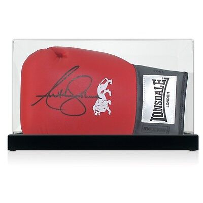 Anthony Joshua Red Lonsdale Signiert Boxhandschuh Im Display Fall