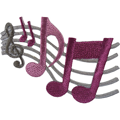 Music Notes Patch Musical Sheet Embroidered Badge Iron Sew On T Shirt Jacket Bag